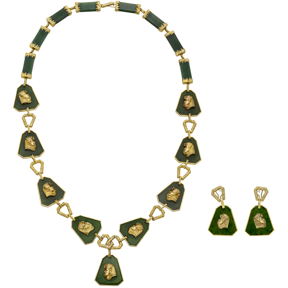 Jade & 14k Gold Necklace with Earrings