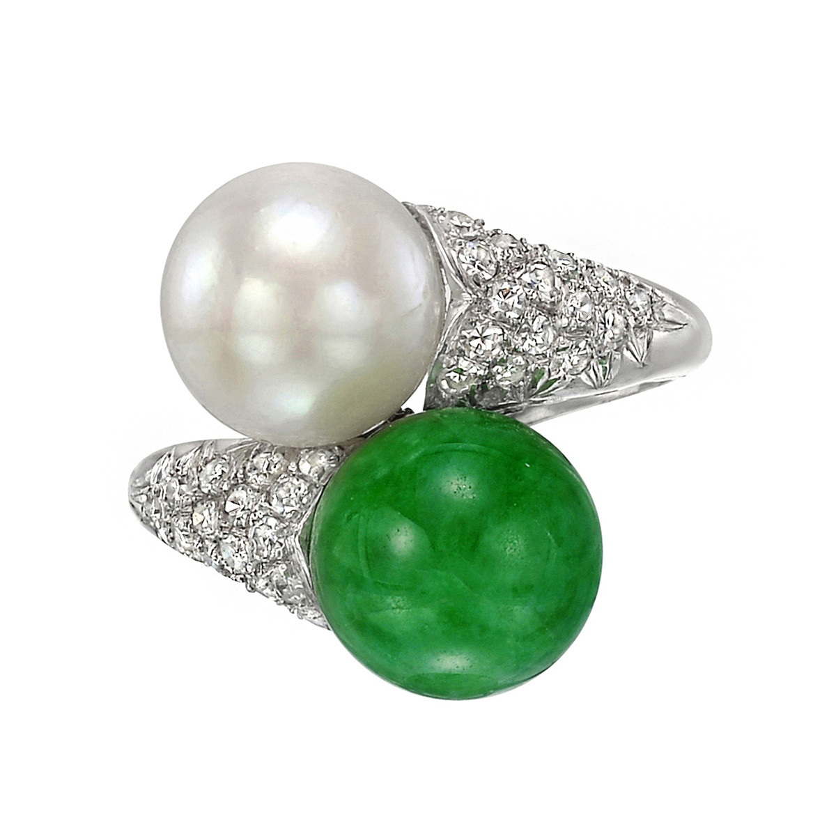 Jade & Pearl Bypass Ring