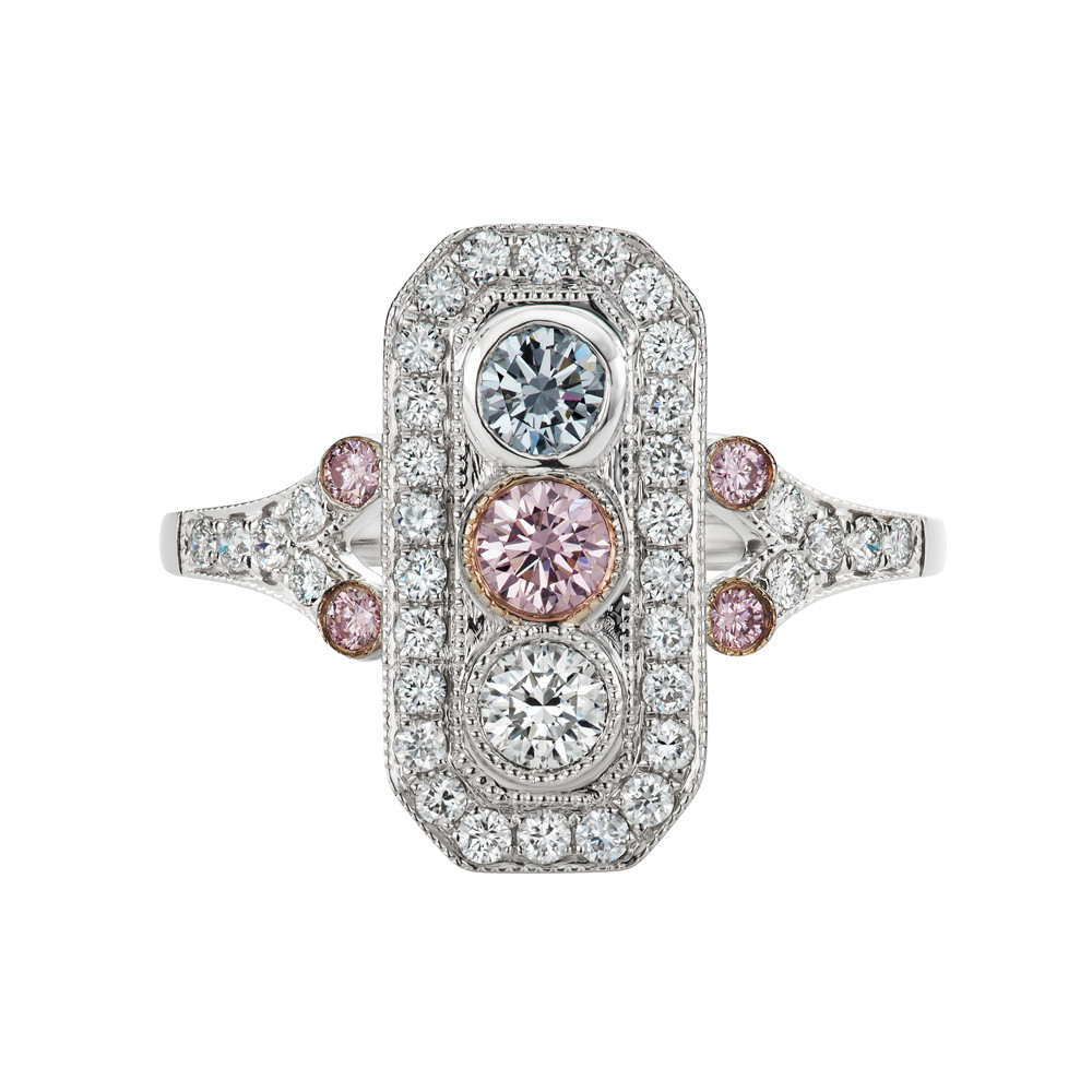 Multicolored Diamond Deco-Style Panel Ring