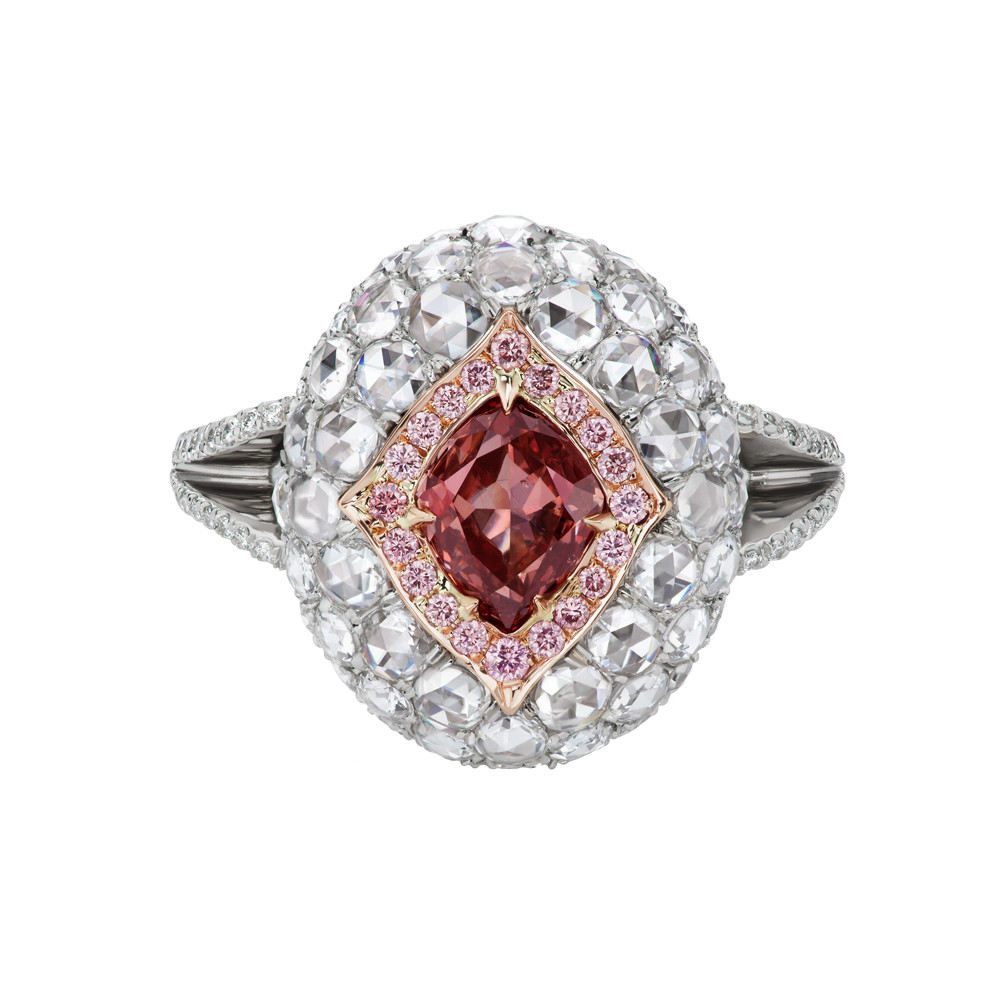 Orangey-Pink, Pink & White Diamond Dome Ring