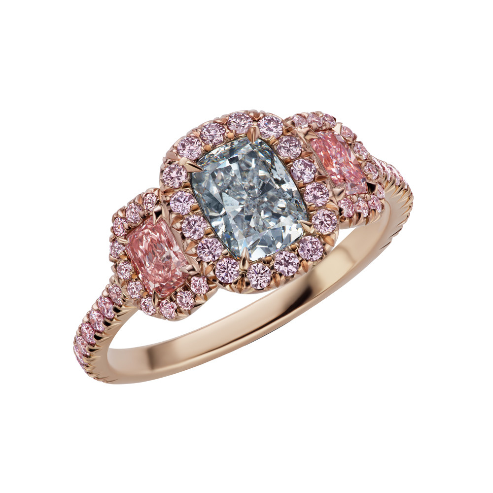 Light Gray & Fancy Pink Diamond 3-Stone Ring
