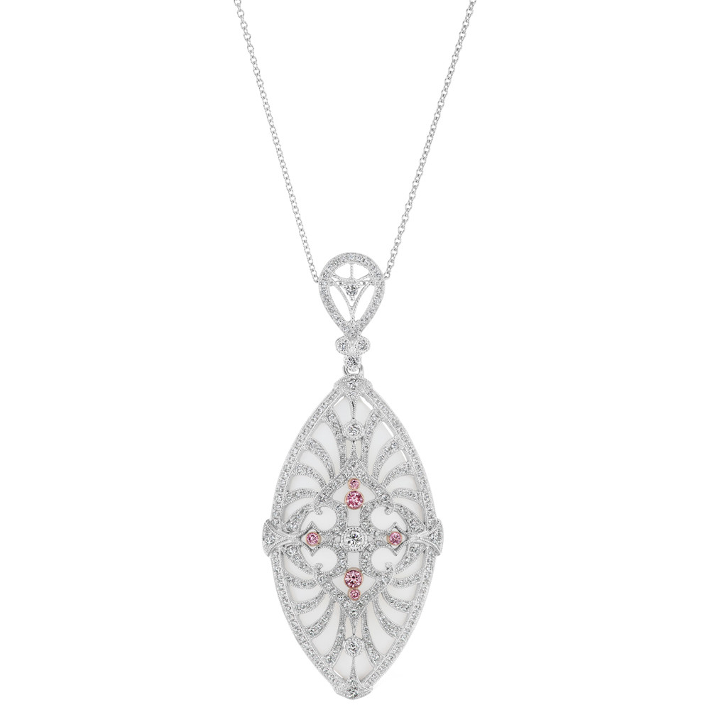 "Pink & White Diamond ""Deco"" Medallion Pendant"