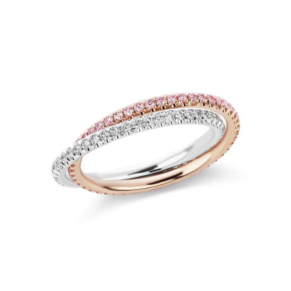 Pink & White Diamond Double Eternity Band Ring