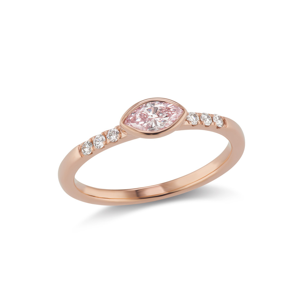 Marquise Fancy Light Purplish-Pink Diamond Stackable Band Ring
