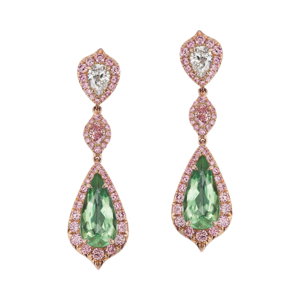 Pink Diamond & Paraiba Tourmaline Drop Earrings