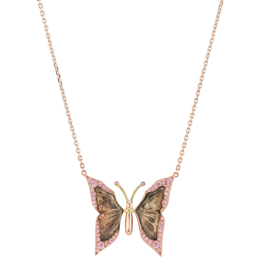 Tourmaline Slice & Pink Diamond Butterfly Pendant Necklace