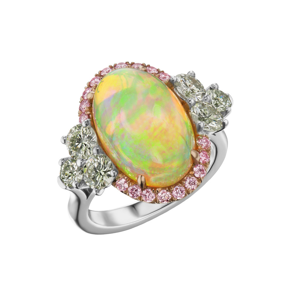 Oval Opal & Pink & Green Diamond Ring