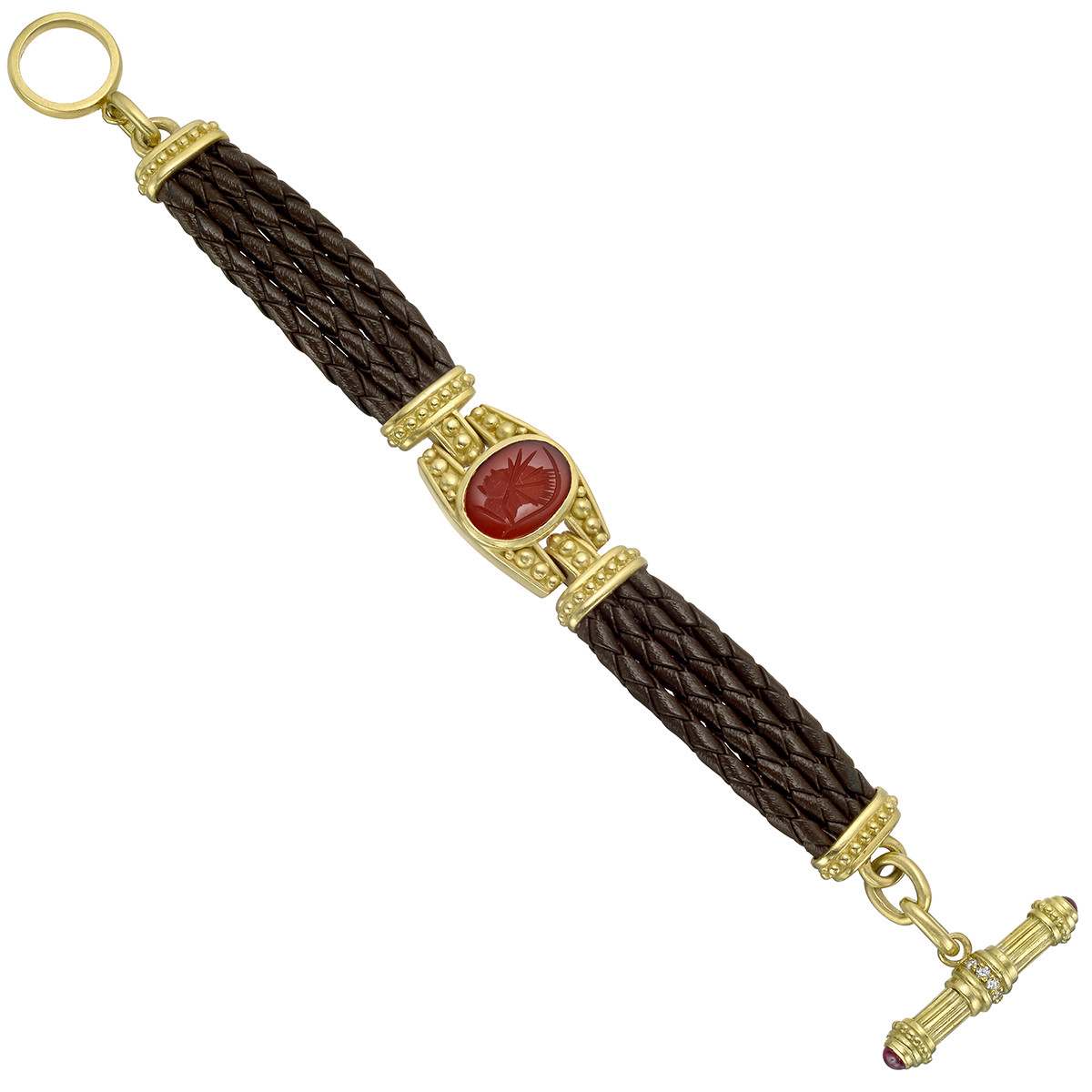18k Yellow Gold, Carnelian Intaglio & Leather Bracelet