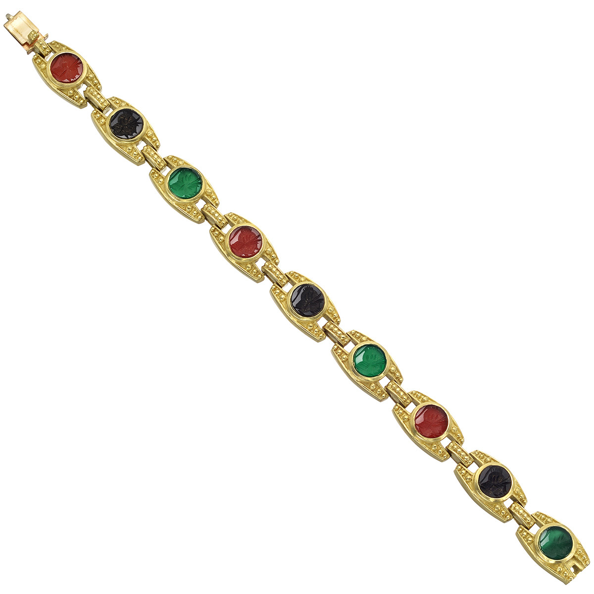 18k Yellow Gold & Gemstone Intaglio Bracelet
