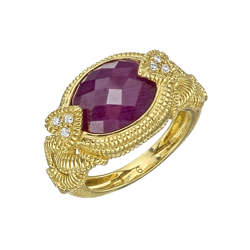 18k Gold, Ruby & Diamond Dress Ring