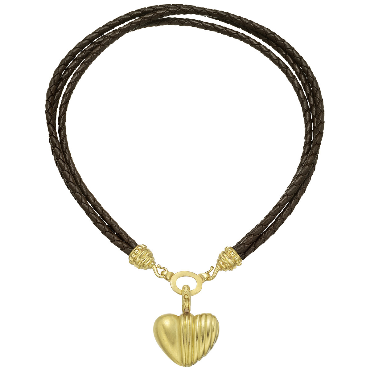 22k Yellow Gold, Diamond & Leather Heart Pendant