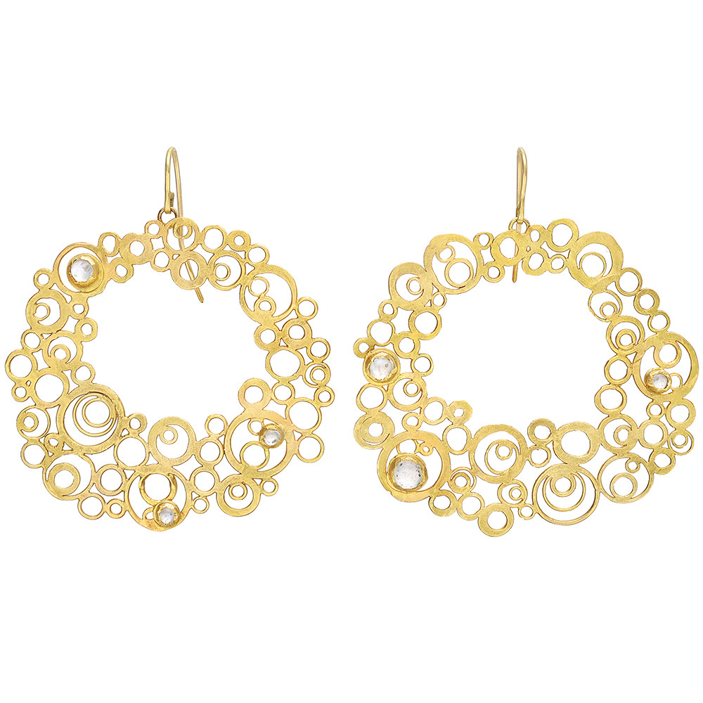 "18k Yellow Gold & Moonstone ""Bubble"" Drop Earrings"