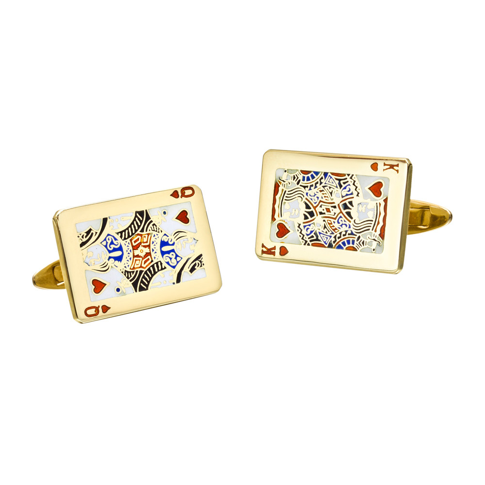 18k Gold King & Queen Playing Card Cufflinks