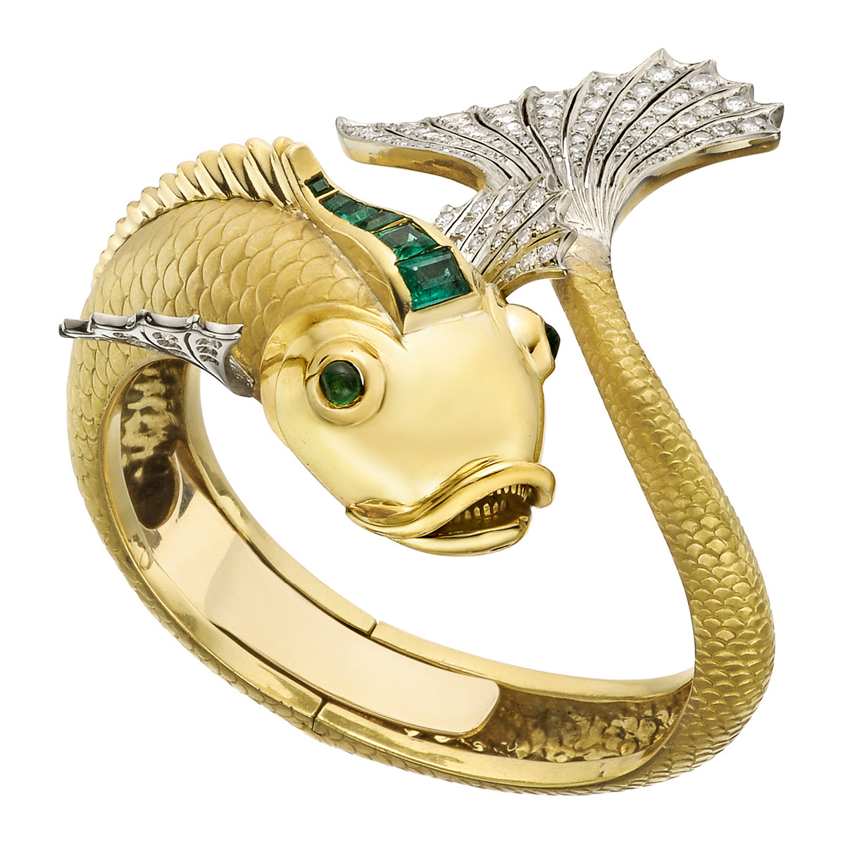 18k Gold, Diamond & Emerald Koi Fish Cuff