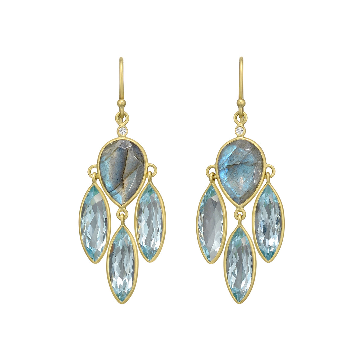Labradorite & Blue Topaz Chandelier Earrings