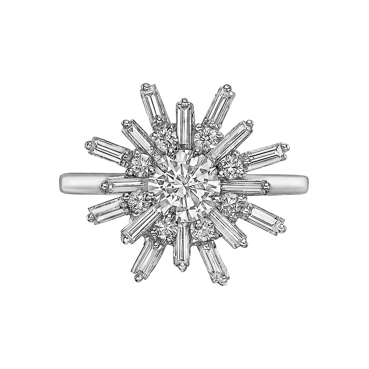 Diamond & Platinum Sunburst Ring