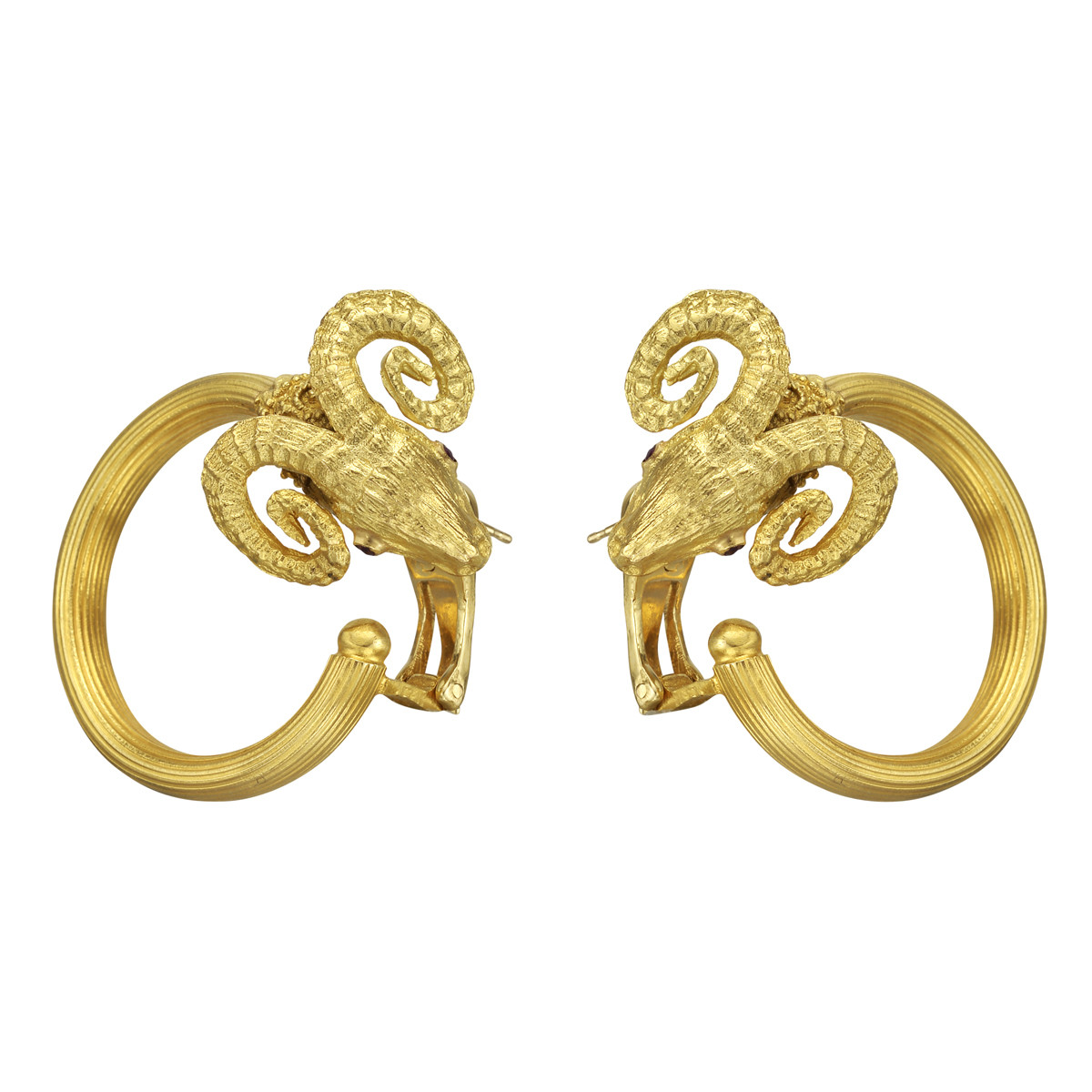 18k Yellow Gold Ram Head Hoop Earrings