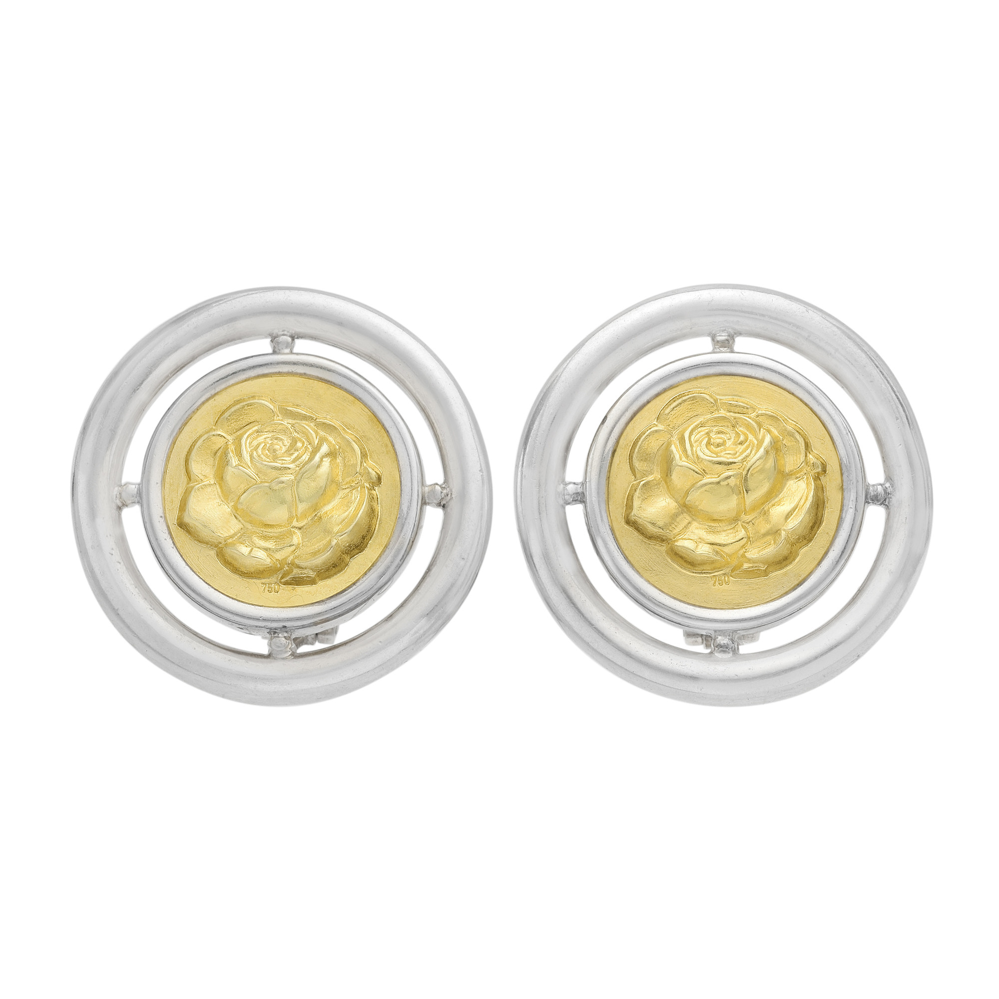 Silver & 18k Gold Circular Rose Earclips