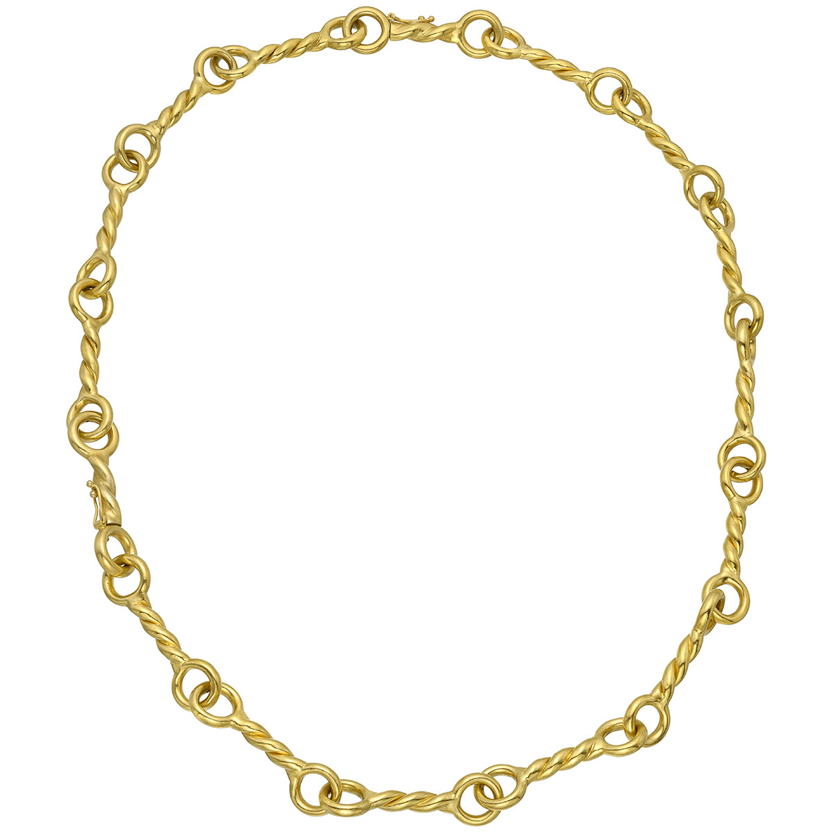 18k Yellow Gold Twisted Bar-Link Long Necklace