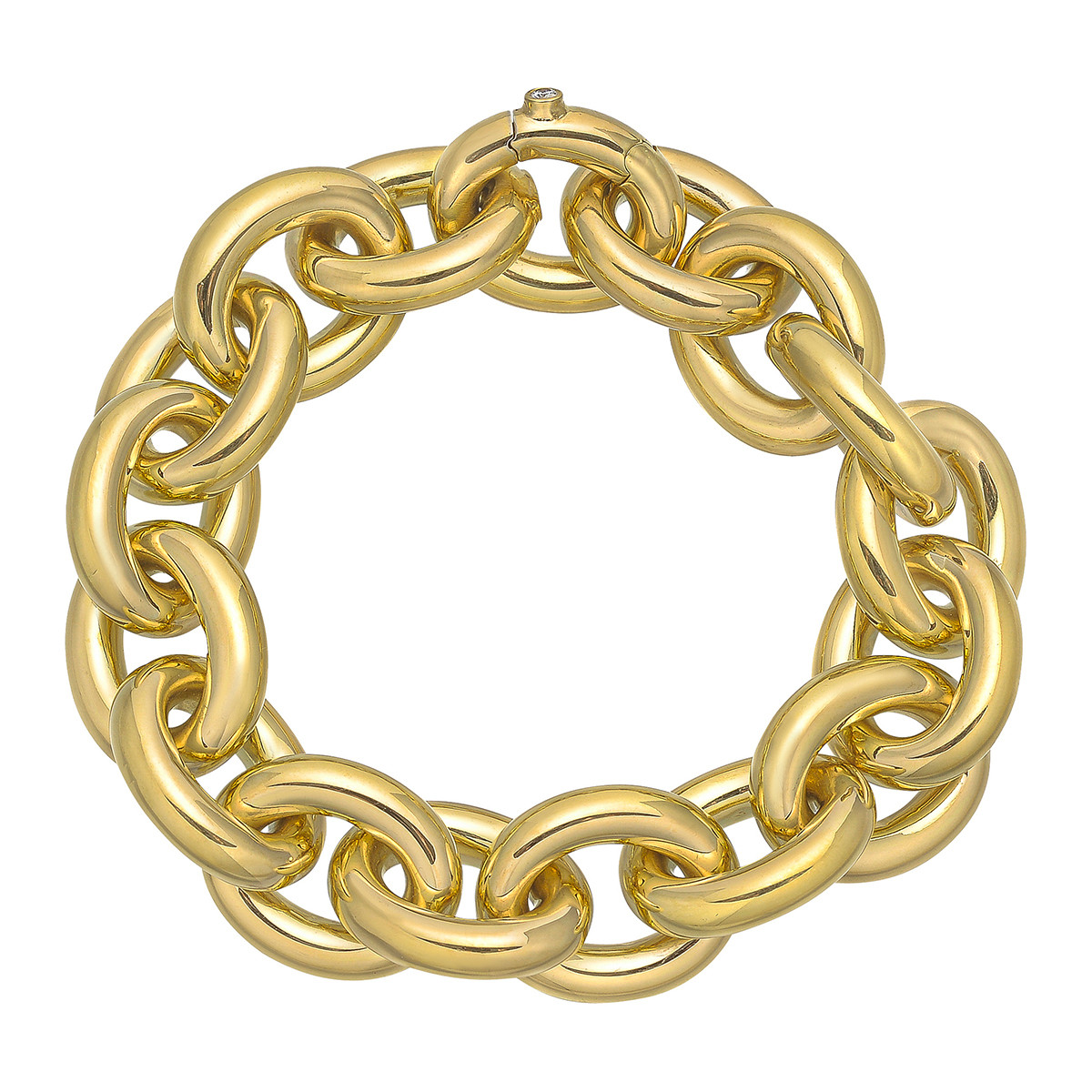 Large 18k Yellow Gold Rolo Link Bracelet