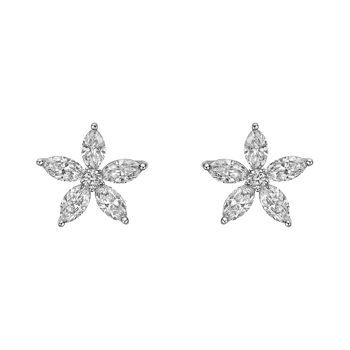 Large Diamond Flower Cluster Stud Earrings
