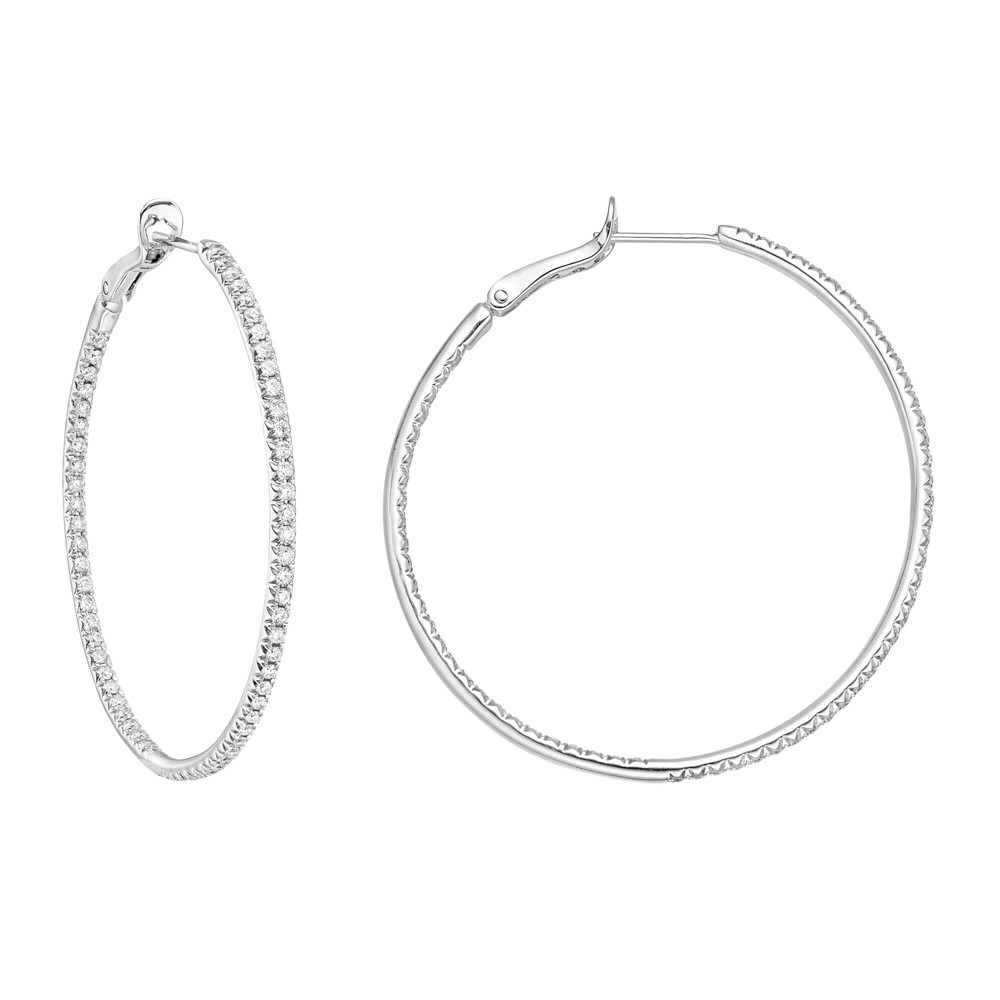 Large Diamond Hoop Earrings (~0.95 ct tw)