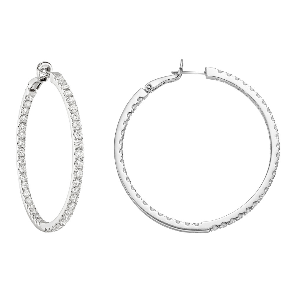 Large Diamond Hoop Earrings (~4 ct tw)