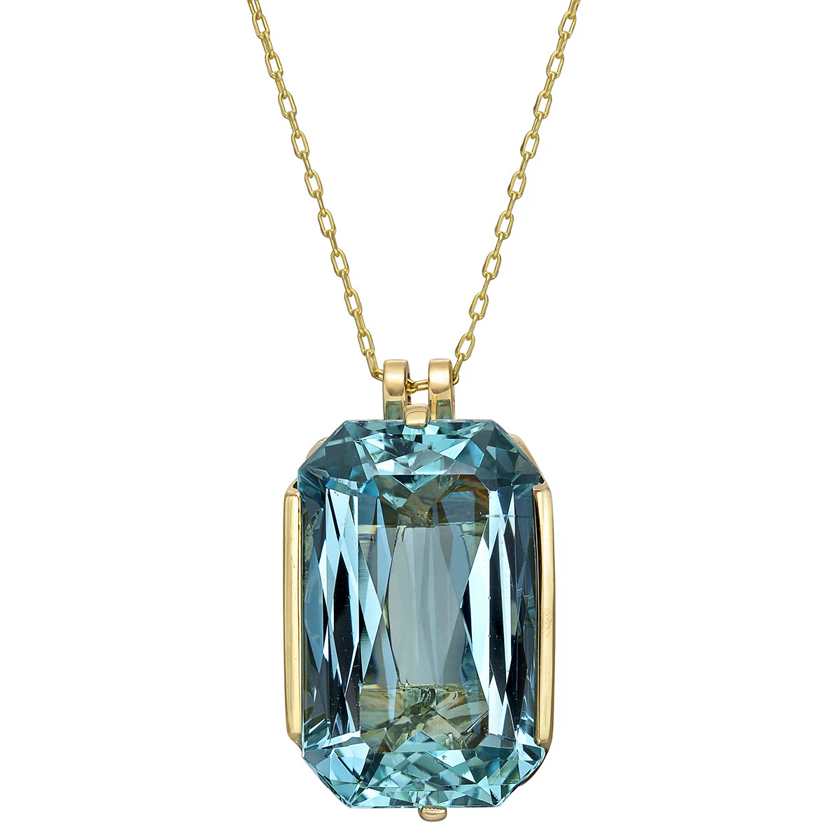 Large Emerald-Cut Aquamarine Pendant Necklace
