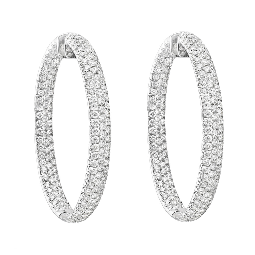 Large Oval Shaped Pavé Diamond Hoop Earrings In 18k White Gold 10 50 Total Carats Of Round Brilliant Cut Diamonds Set Three Rows To The Front Inside