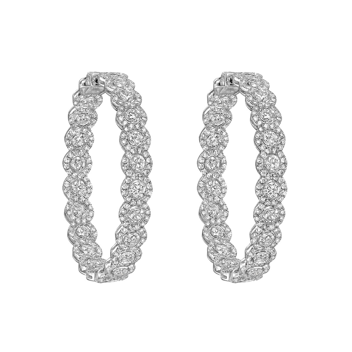 Large Pavé Diamond Hoop Earrings (8.65 ct tw)