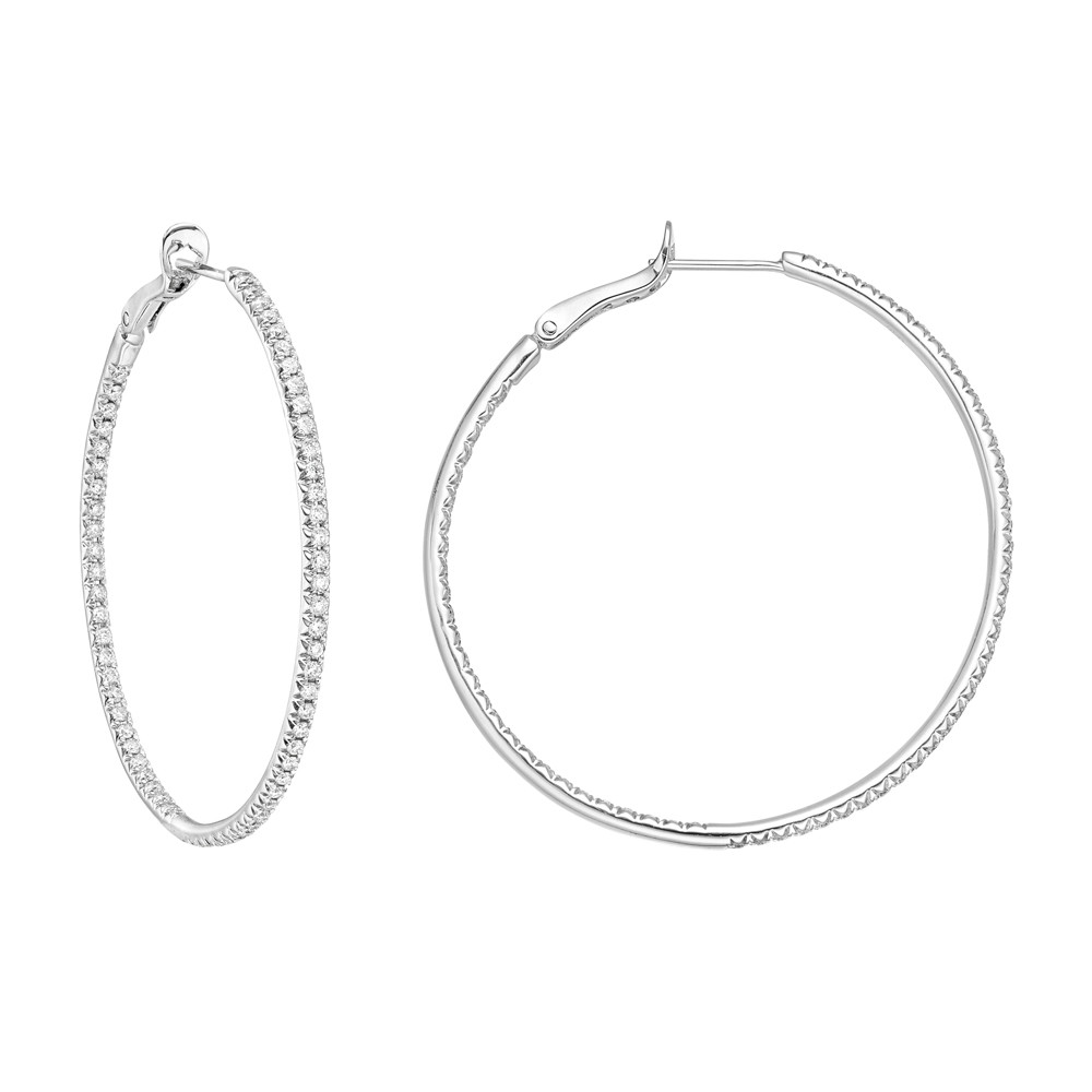 Large Diamond Hoop Earrings (~2.60 ct tw)