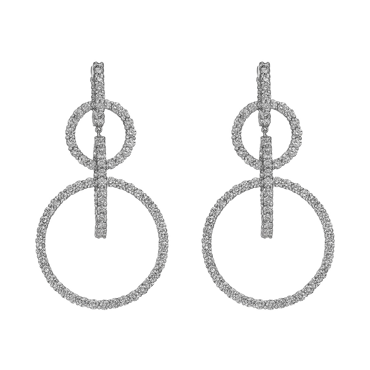 Diamond Open Circle Long Drop Earrings