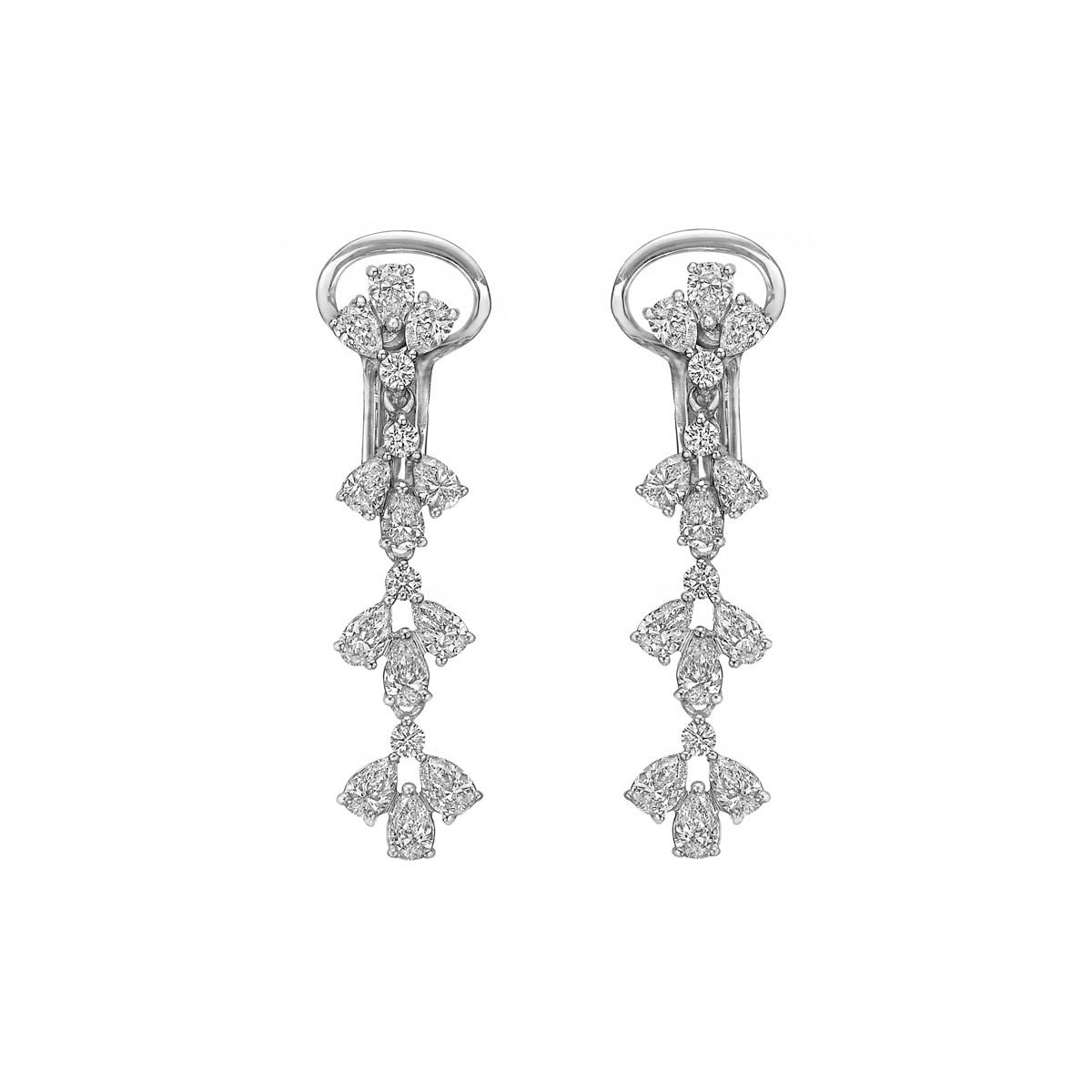 18k White Gold & Diamond Cluster Drop Earrings