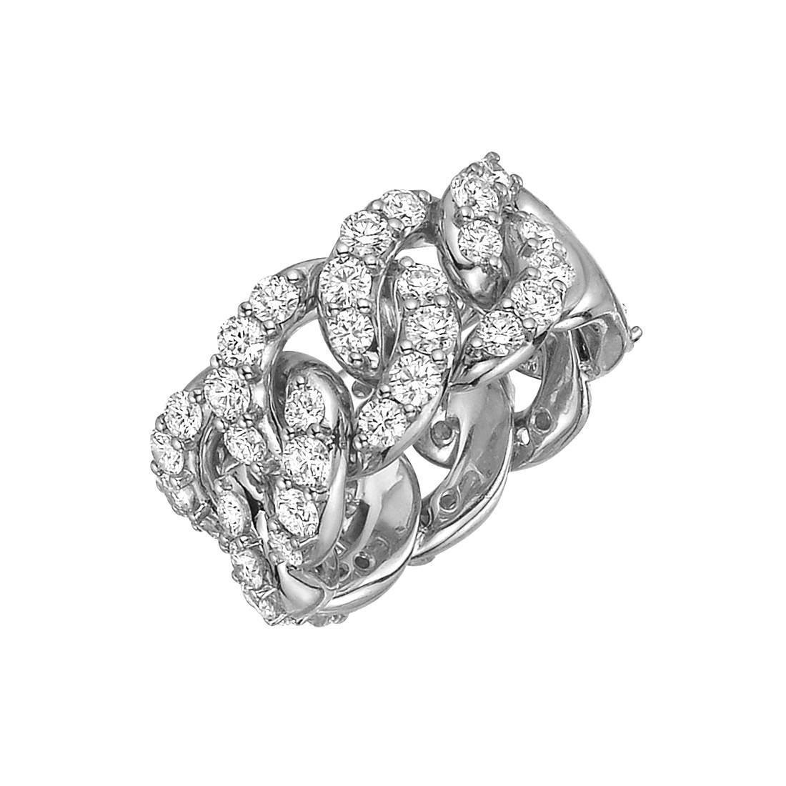 18k White Gold & Diamond Cable Link Ring