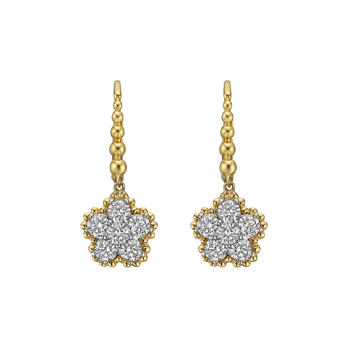 Diamond Flower Cluster Drop Earrings