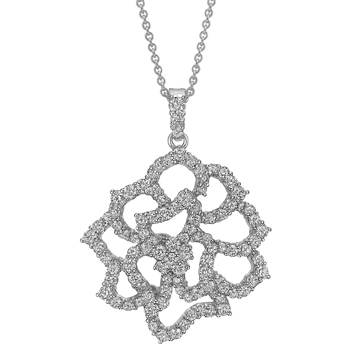 Pavé Diamond Large Flower Pendant Necklace
