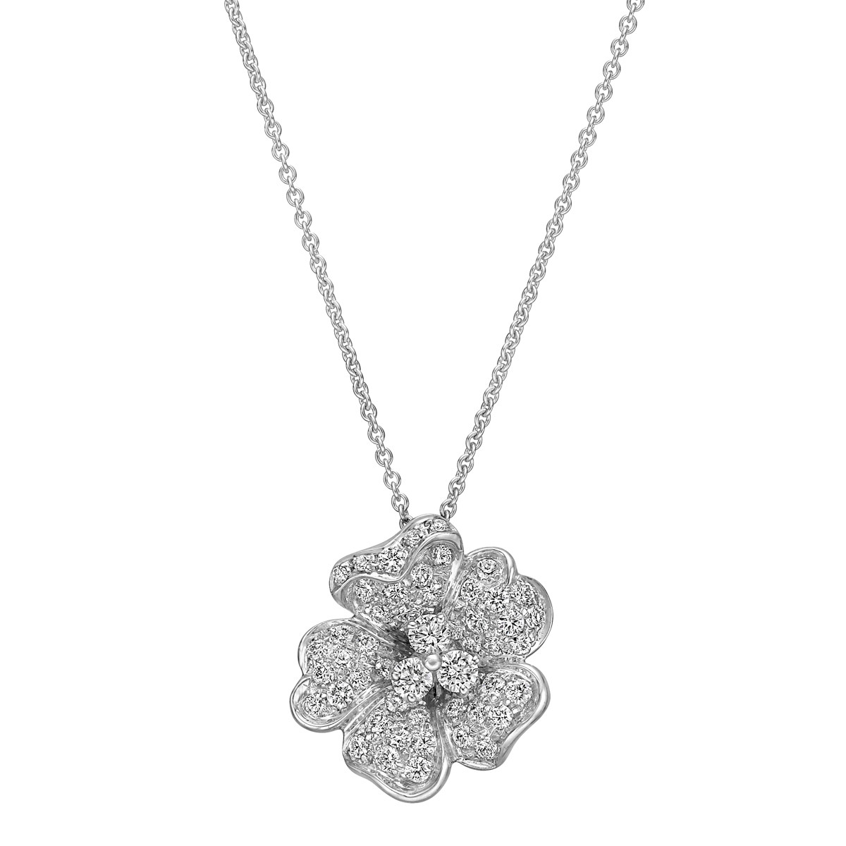 18k White Gold & Diamond Flower Pendant