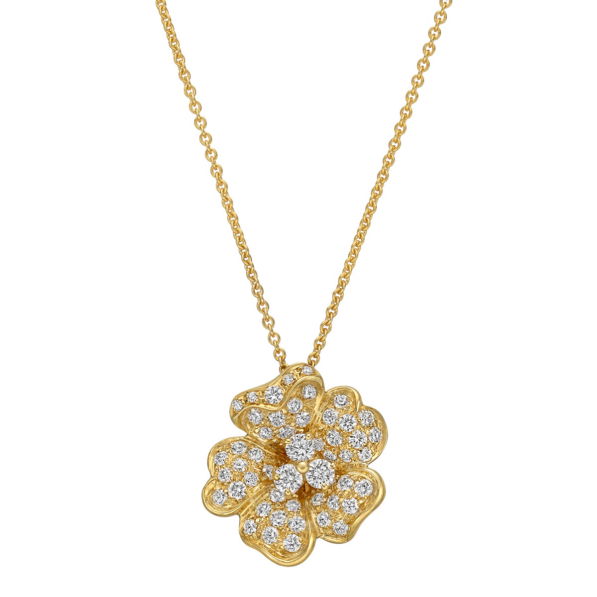 18k Yellow Gold & Diamond Flower Pendant