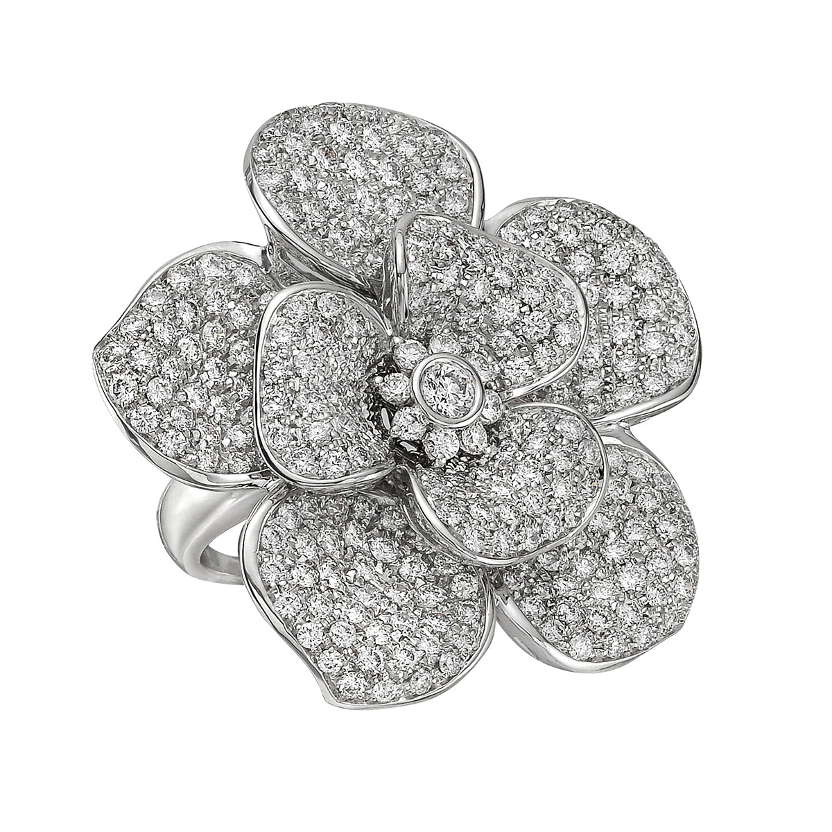 Large Pavé Diamond Flower Ring