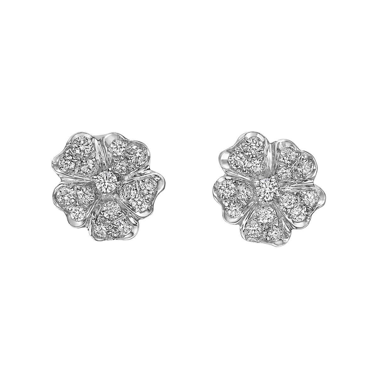 18k White Gold & Diamond Flower Stud Earrings