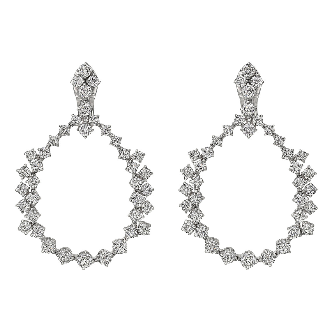 Diamond Open Pear-Shaped Drop Earrings