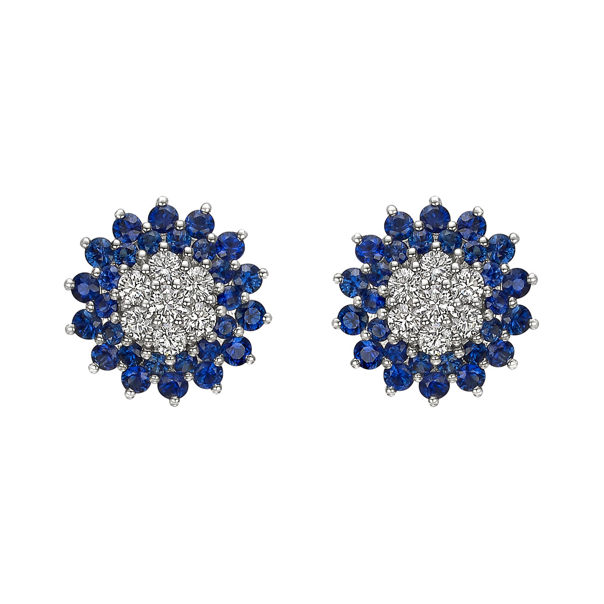 Diamond & Sapphire Flower Stud Earrings