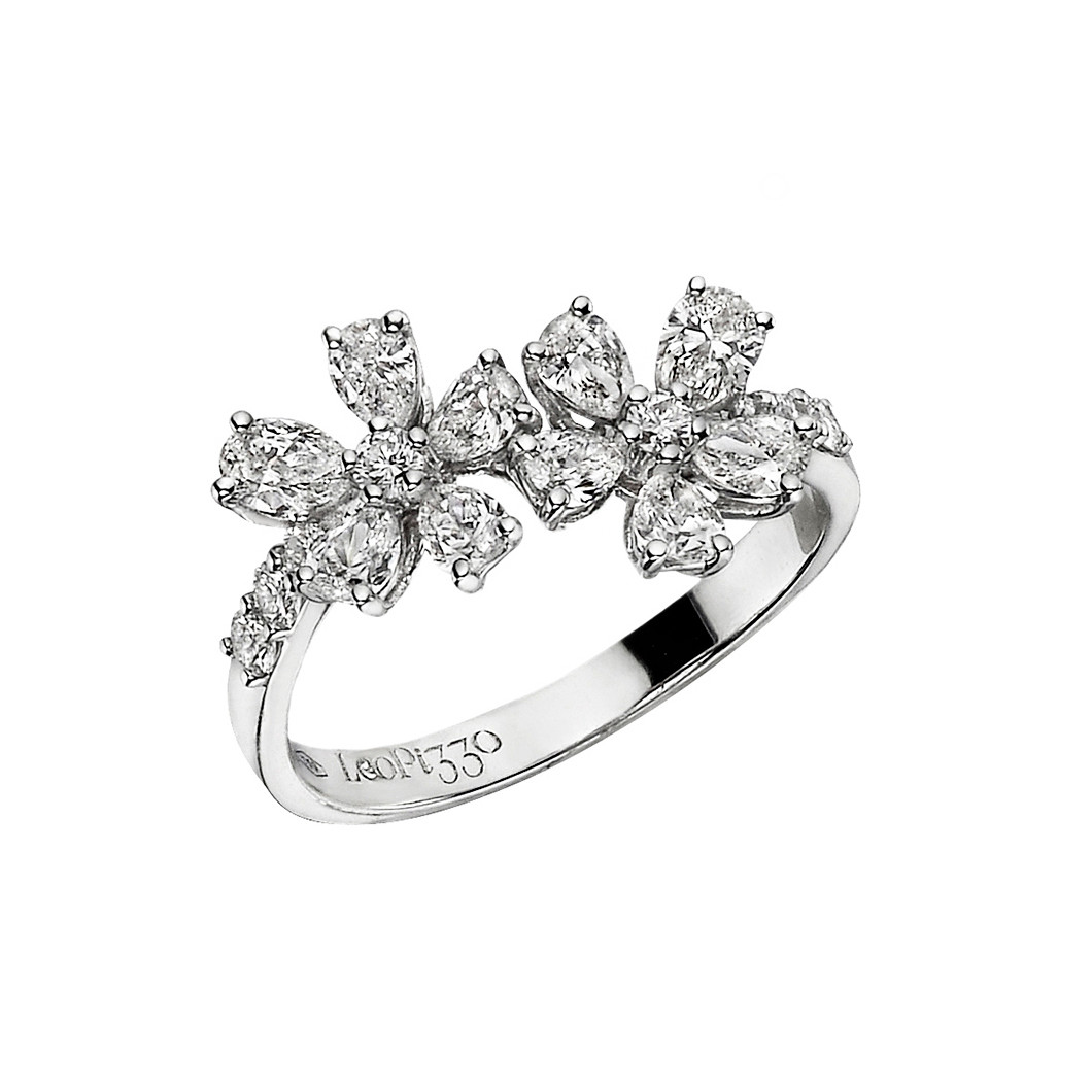 18k White Gold & Diamond Two-Flower Ring