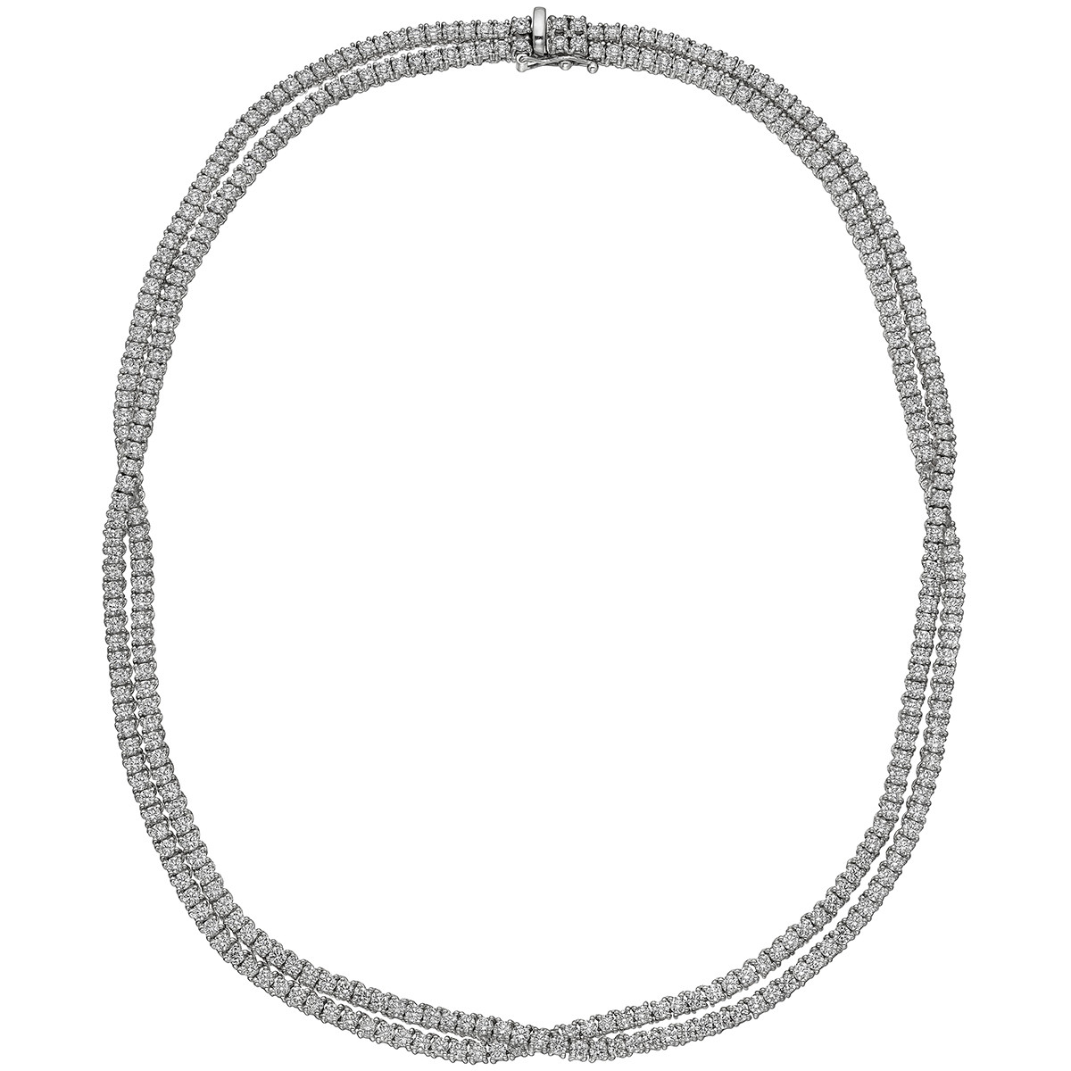 Diamond Double Line Crossover Necklace