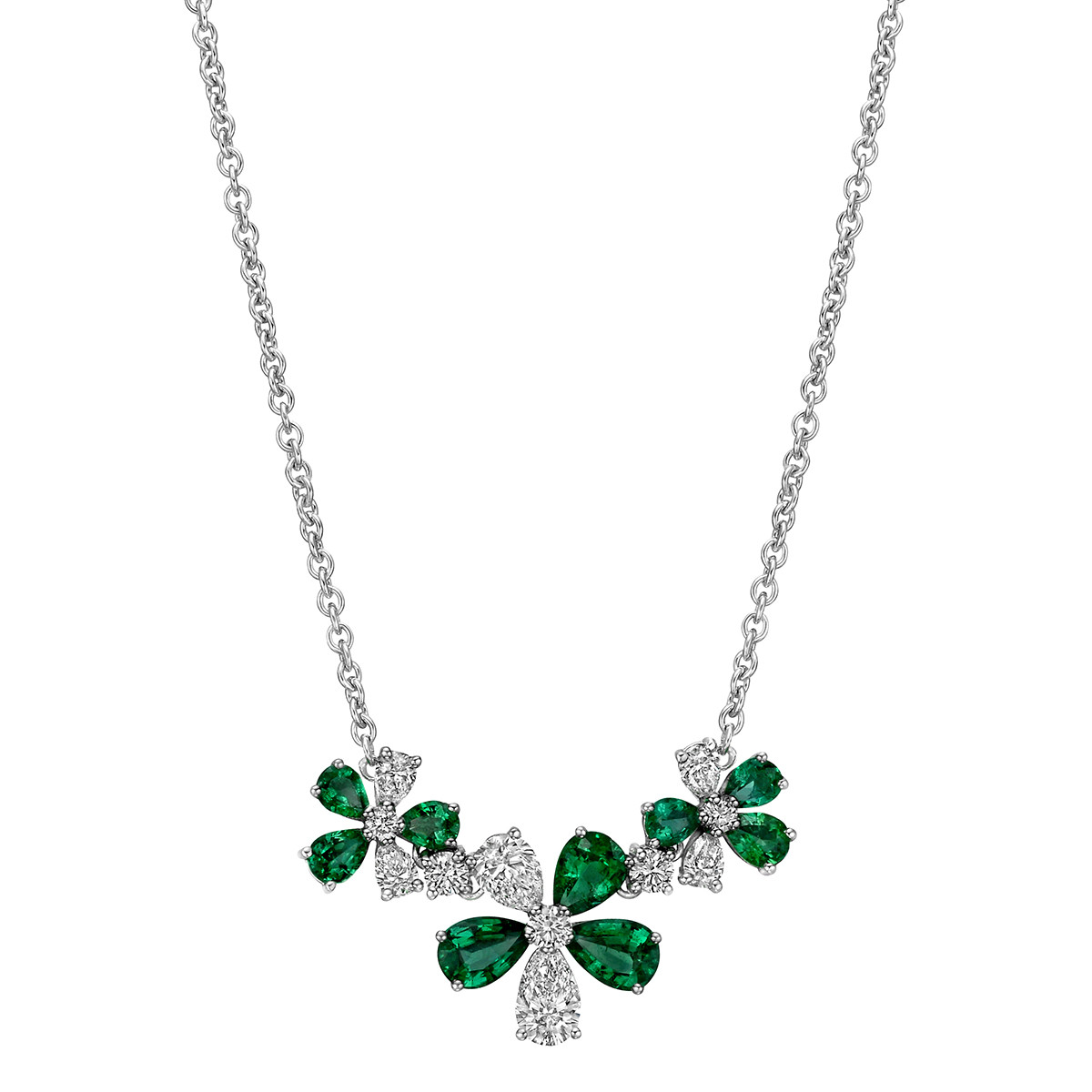 Emerald & Diamond 3-Flower Pendant