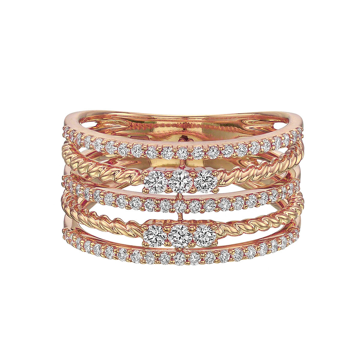18k Rose Gold & Diamond 5-Row Ring
