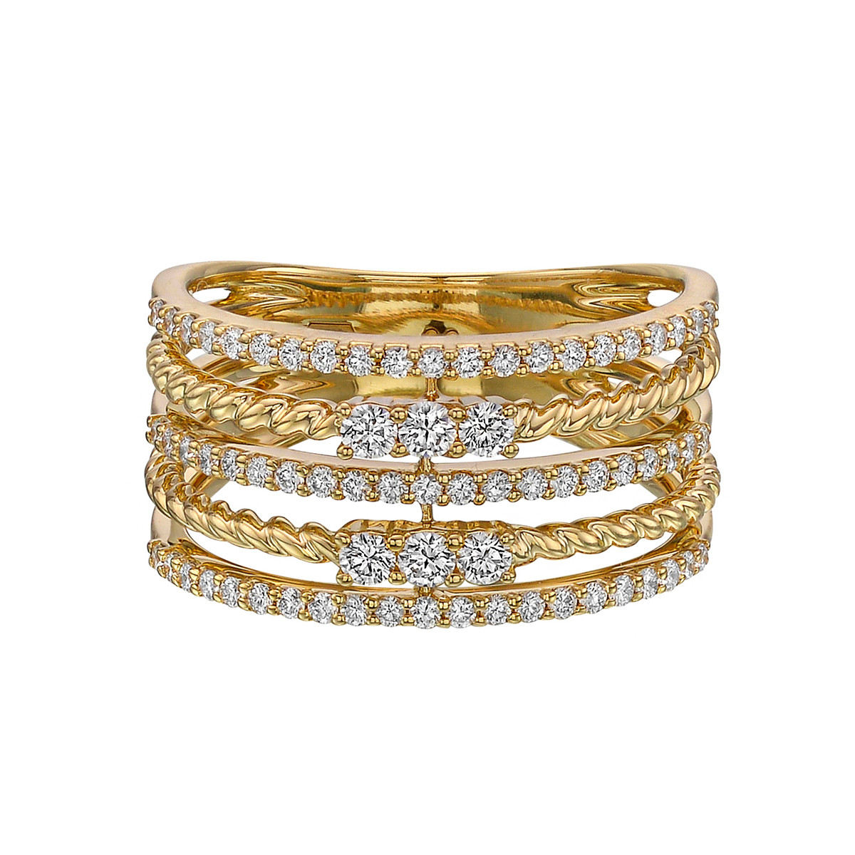 18k Yellow Gold & Diamond 5-Row Ring