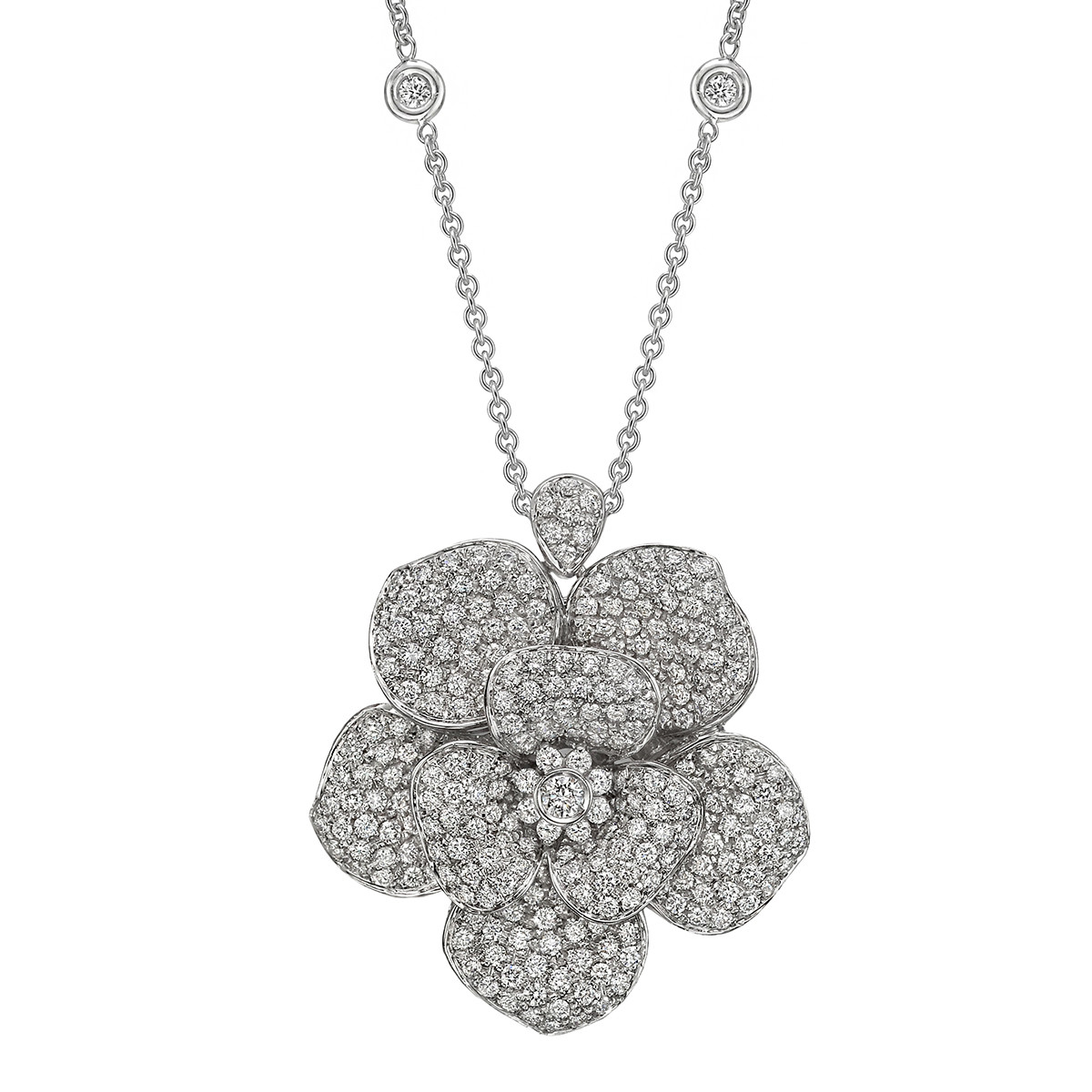 Pavé Diamond Flower Pendant Necklace