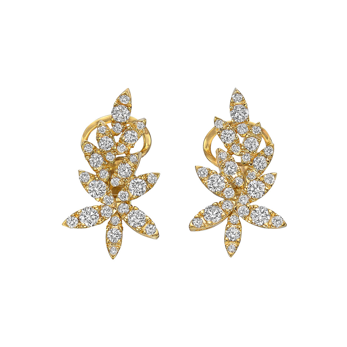 18k Yellow Gold & Diamond Spray Earrings