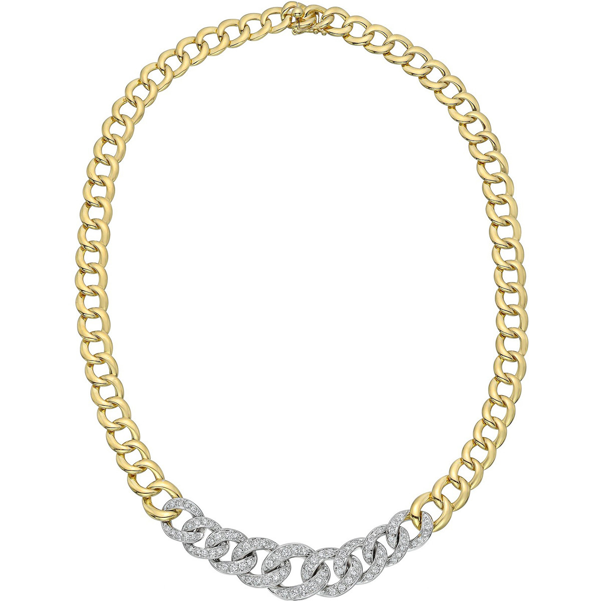 18k Gold & Diamond Graduated Curb-Link Necklace